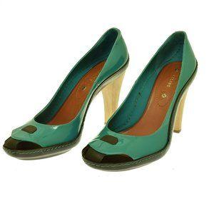 Celine Teal Patent Leather Black Peep Toe High Heels Lagoon 40 US 10 EUC Italy